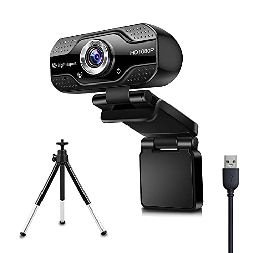BigPassport 1080P/30fps 5P lens Full HD Webcam with Tripod & Inbuilt Microphone, Advanced Human Face Detection, Laptop Desktop Camera Video Webcam 110-Degree Widescreen for Video Streaming, Conference, Gaming, Online Classes