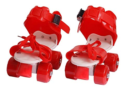 Toy Arena Adjustable Quality Quad Roller Skates Inline Skates Suitable for Age Group 6 to 14 Years (Red)