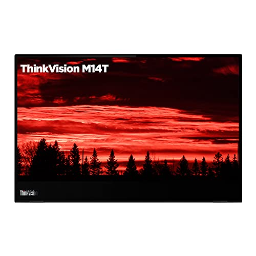 """Lenovo ThinkVision M14t 14"""" (35.56 cms) FHD IPS (1920x1080) Touchscreen 300 nits Monitor, USB Port, 60Hz Refresh Rate, Active Pen with Battery, Tilt, Height Adjust Stand, 62A3UAR1WW-Raven Black"""