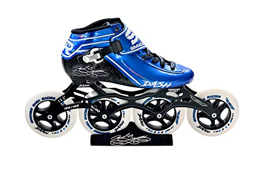 Simmons Rana Racing 4 x 110 Dash Inline Speed Skates Complete Package (Blue-White, 12)