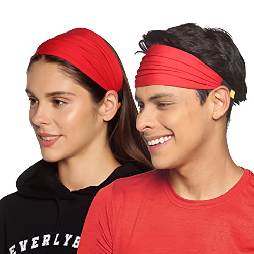 Boldfit Gym Headband for Men and Women - Sports Headband for Workout & Running, Breathable, Non-Slip & Quick Drying Head Bands for Long Hair (Red), One Size