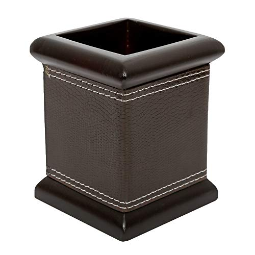 MRD ZONE PU Leather Square Pens Pencils Holder Desktop Stationery Organizer Case Office Accessories Container Box (Black)