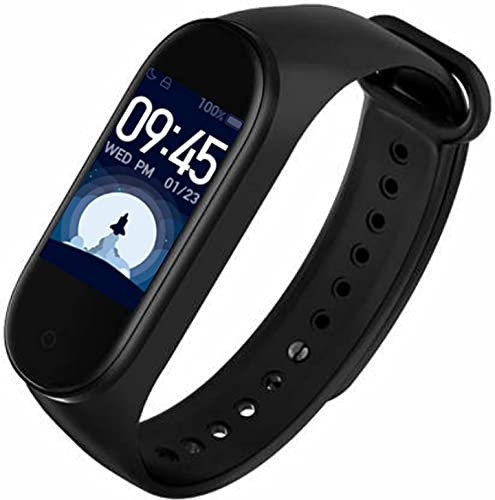 HUG PUPPY Smart Band Fitness Tracker Watch Heart Rate with Activity Tracker Water Resistant Body Functions Like Steps Counter, Calorie Counter,Heart Rate Monitor LED Touchscreen (Black, Unisex)