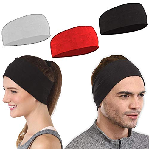 HP HIGH PROFILE Headband Elastic Stretchy Hair Bands for Yoga, Sports, Gym Fitness No Slip Sweatband for Women/Girls - Pack of 3 (Red,Black,White)