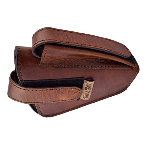 Bespoke Pelle .32 Pistol Distressed Leather Holster Cover Case with Magazine Holder (Brown)