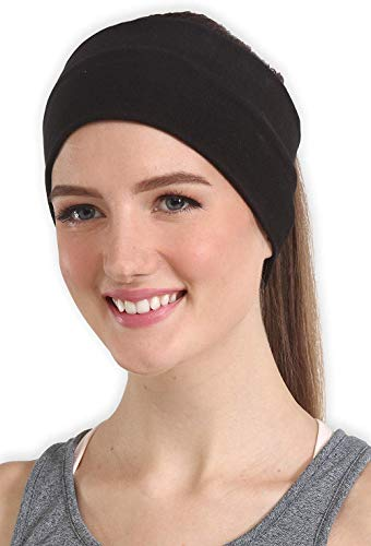 BISMAADH Headband for Women, Versatile Solid Headband Hair Wrap Multi-Style Casual Sports Headwear, Stretchy Breathable Moisture Wicking Microfiber Head Wrap for Workout, Running (Black, Free Size)