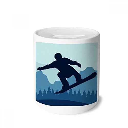 DIYthinker Winter Sport Pattern Ski Suit and Boots Money Box Saving Banks Ceramic Coin Case Kids Adults 3.5 inch in Height, 3.1 inch in Diameter Multicolor