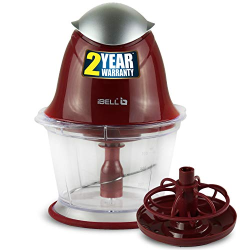 iBELL VC588SG Electric Vegetable Cutter/Chopper, Food & Fruits Chopper, 800ml Capacity with Whisking Attachment, Maroon - 200 Watts
