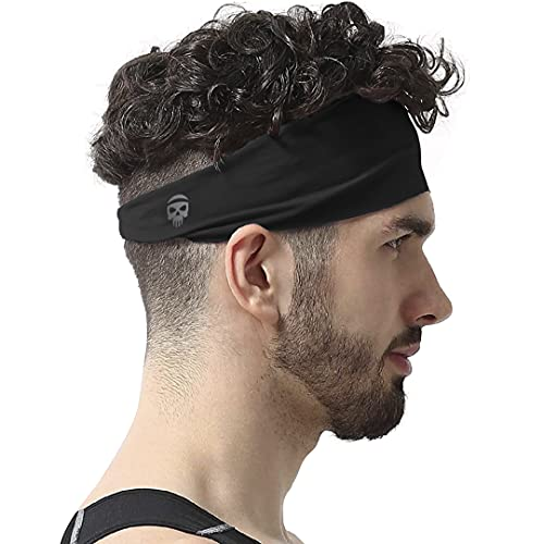 SKULLFIT Sports Headbands for Men (Black) - Lightweight Moisture Wicking Workout Sweatbands for Running, Gym, Yoga, Cycling, Tennis, Cricket and Other Sports