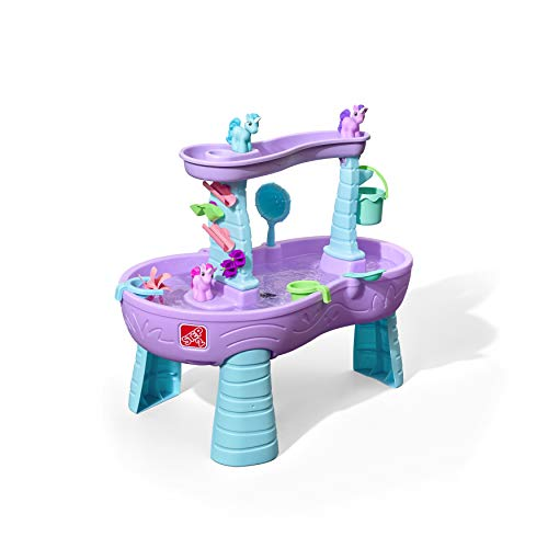 Step2 Rain Showers & Unicorns Water Table   Purple Kids Water Play Table with 13-Pc Unicorn Toy Accessory Set