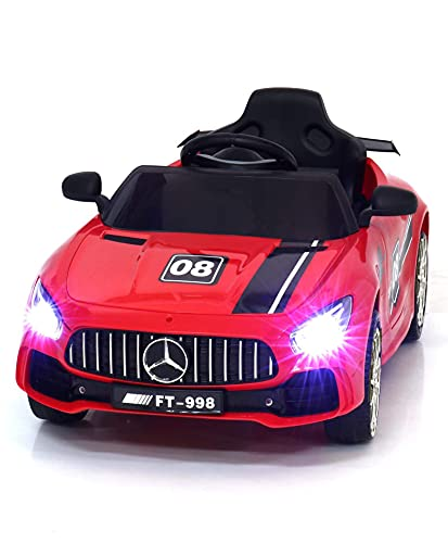 GettBoles Skisports Baby Rechargeable Battery Operated Ride on Car for Kids to Drive- Electric Ride on Kids Car with Music, Led Lights and Remote Control, Ideal for 1 to 5 Years Kid (Red)