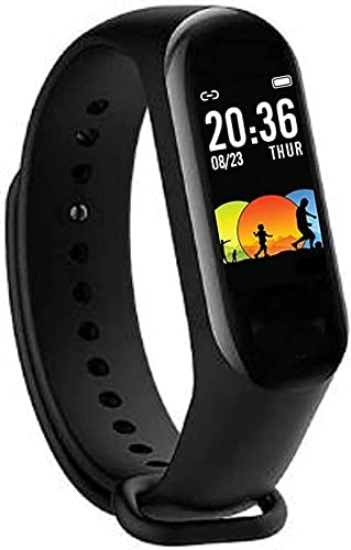 SHOPTOSHOP Smart Band Fitness Tracker Watch with Heart Rate, Activity Tracker Water Resistant Body Functions Like Steps Counter, Calorie Counter, Heart Rate Monitor LED Touchscreen (Black)