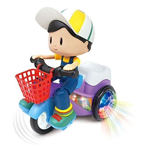 Little Hands Cartoon Tricycle Stunt Toy Electric Motorcycle Car Lights and Sound Vehicles Toys,Three Wheeled Bicycle for Toddlers Baby Kids Stunt car boy(Multicolor)