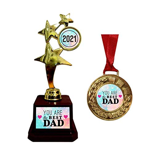 TheYaYaCafe Alloy & Plastic You are The Best Dad 2020 Star Trophy Award and Medal Combo -Golden