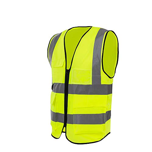 Reflective Vests, Safety Vest, High Visibility Reflective Strips, Hi Vis Yellow Multi-Pockets and Front Zipper for Men & Women Work, Cycling, Runner, Volunteer, Road Construction, Universal Size