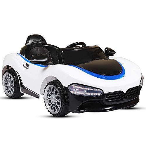 SRECAP PH 518 12V Battery Operated Ride on Car for Kids with Music, Lights and Remote Control, White
