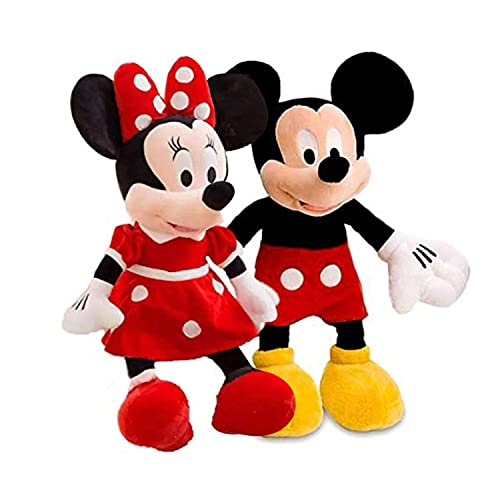 BOOMBEAUTY Mickey Mouse, Minnie Mouse Couple Cartoon Characters Washable 100% Child Safe Best for Birthday Gift Soft Toy (Medium, Multicolour)
