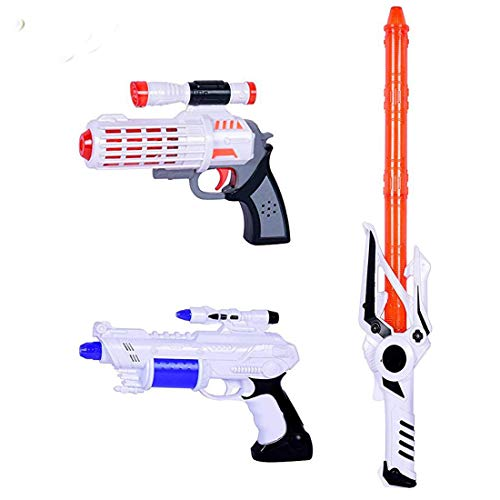 Planet of Toys Space Weapon Toys for Kids Light Sward & 2 Light Space Guns for Kids (Sward & Gun)