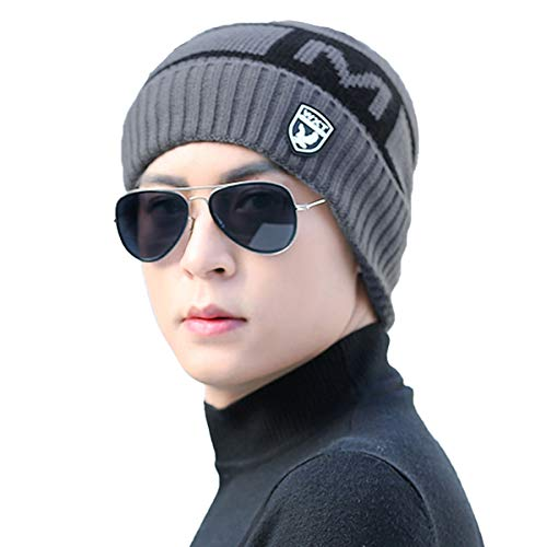 YOUSTYLO - YOU ARE PRIORITY Winter Knit Warm Hat Thick Soft Stretch Slouchy Beanie Skully Cap for Men and Women (7123B, Dark Grey)