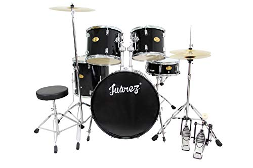 JUAREZ Obra Complete Full Size 5-Piece Adult Acoustic Drum Set With Throne, Cymbal, Pedal & Drumsticks, Black
