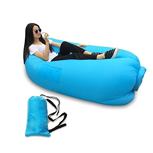 GO STORE INDIA Indoor Outdoor Camping & Travelling Lazy Sleeping Bag Fast Inflatable Portable Nylon Polyester Fabric Sofa Beach Banana Lounge Sitting Air Bed Lounger (Inflated Size: 82 x 27 x 35 inch)