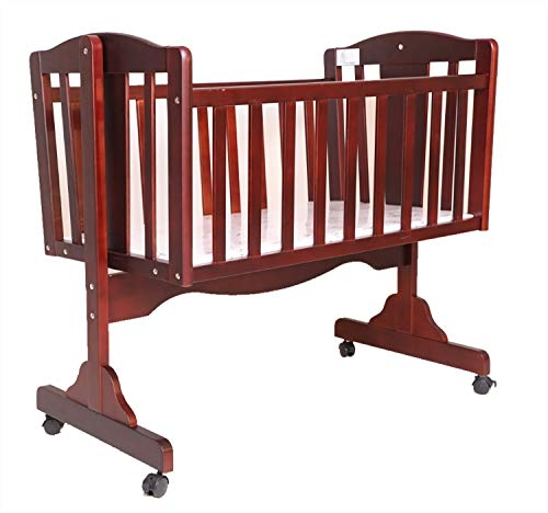 R for Rabbit Dream Time Baby Wooden Cradle, Baby Cot Bed, Baby Crib for Newborn Bedding Set, Sleep Swing with Wheel Lock Function | Brown