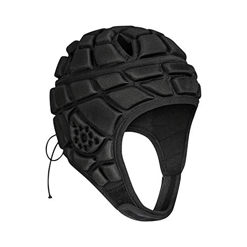 TUOY Youth Soft Shell Helmet for Flag Football Rugby Soccer Goalie - Black (M (9-14 Age))