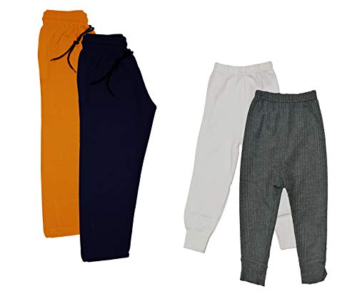 Indistar Kids - Unisex Girls and Boys Fleece Warm Lowers Track Pants and Body Warmer Thermal Bottom for Winters (White,Grey,Orange,Royal Blue, 3-4 Years) Pack of 4