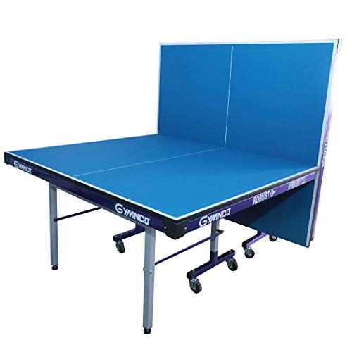 Gymnco Robust Iron Tech Table Tennis Table with 75 MM Wheel (Top 25 mm Laminated Compressed & Free TT Table Cover + 2 TT Racket & Balls)