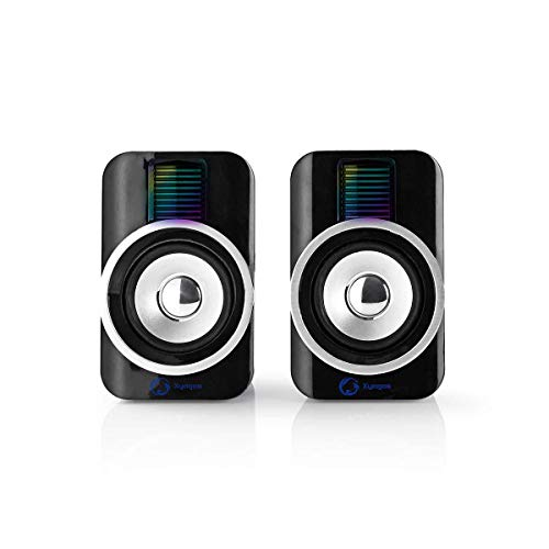 Nedis (Designed in Netherlands) USB-Powered 30 Watts 2.0 Gaming Speakers with RGB Lights for Desktop, Computer, PC, Laptop and TV