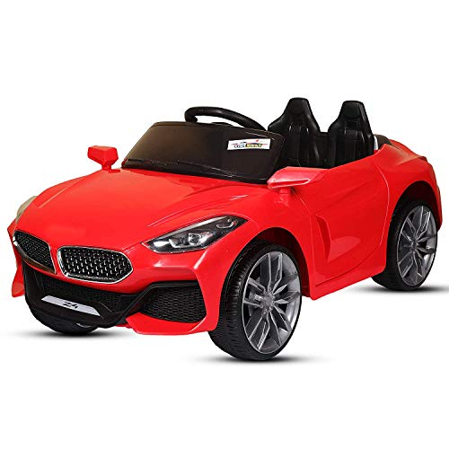 GetBest GetBolles Z4 Electric Ride on Car for Kids with Rechargeable 12V Battery, Music, Lights and Swing (Red)