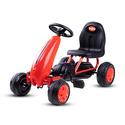 Baybee Kids Mini Kart Pedal Go Kart Racing Ride-On Toy Car for Baby with Curved Seat Baby Tricycle Kid's Trike, Bicycle | Pedal Cars for Kids, Tricycle for Boys & Girls Age 0-2 Years (Red)