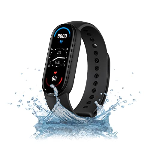 Xiaomi Mi Smart Band 6, 50% Larger 1.56' AMOLED Screen, SpO2 Tracking, Continuous HR, Stress and Sleep Monitoring, 30 Sports Modes, PAI, Women's Health, Quick Replies, 5ATM Water Resistant, Black