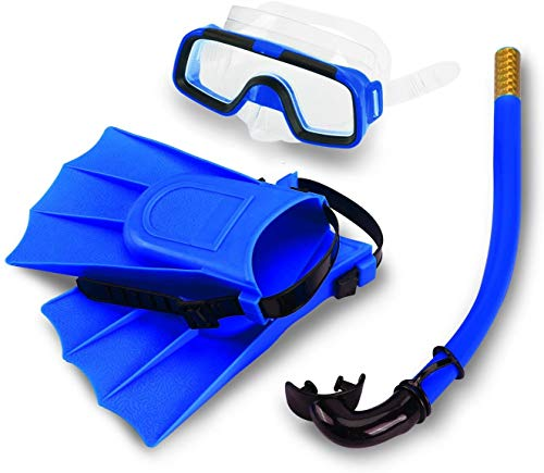 SYPRAM® Snorkel Set, Anti-Fog Swimming Goggles Mask Flippers Scuba Diving Snorkel Breathing Tube Long Fins Foot Combo Set for Travel Beach Underwater Pool