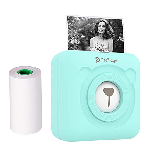 F2C Mini Photo Printer Wireless Bluetooth Thermal Label Sticker Receipt Mobile Pocket Printer with USB Cable Compatible Android/iOS/Windows - Turquoise
