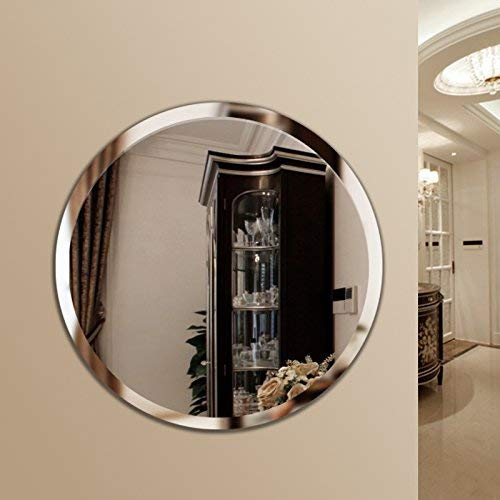 Quality Glass Glass Frameless Round Mirror for Wall Bathrooms Home (24 X 24 Inch, Silver)