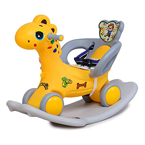 Webby Musical 2 in 1 Dinosaur Rocker Cum Rider-Kids Ride On Push Car Toy Toddler Baby Toy 1-3 Years Old Indoors and Outdoors Kids Suitable for Boys & Girls (Yellow)