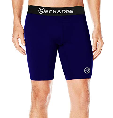 ReDesign Apparels Men's Polyester Recharge Compression Sports Half Tights (Small, Navy Blue)