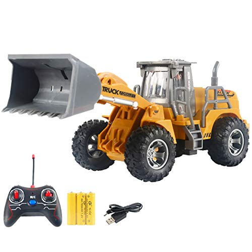 outgeek kids rc excavator toy rechargeable rc tractor toy educational remote control excavator with light-Multi color