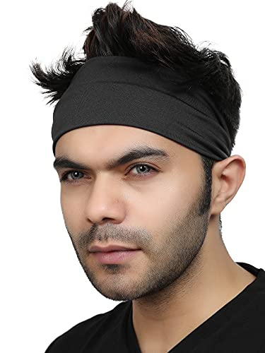 BISMAADH Women's and Men's Workout Non Slip Stretchy Soft Elastic Sports Fitness Exercise Tennis Running Gym Dance Yoga Headband (Black)