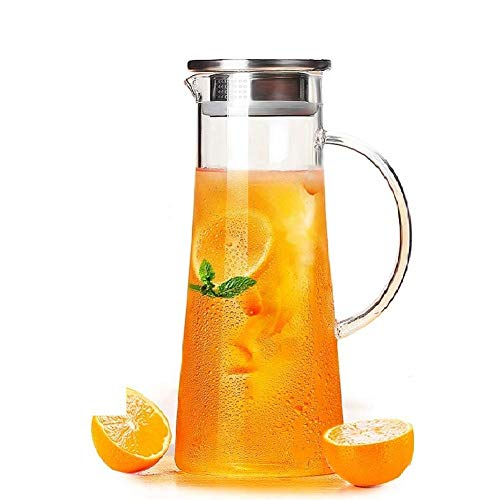 Aeternum Glass Water Jug with Lid Glass Pitcher Hot Water Jug Milk Carafe Glass Water Jug for Dining Table 1300 ml, Pack of 1