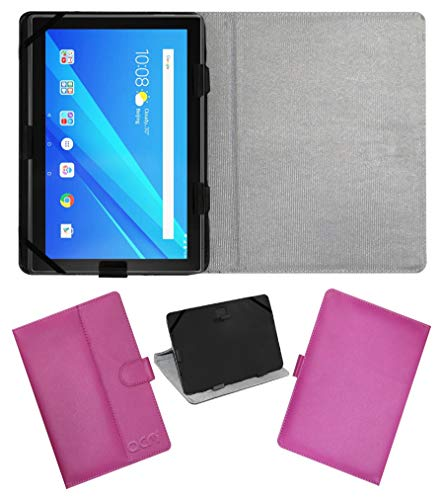 Acm Leather Flip Flap Case Compatible with Lenovo 10 Inch Byju Tablet Cover Stand Pink