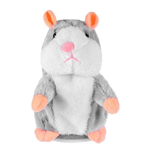 Toyvian Talking Hamster Funny Plush Toy Repeats What You Say Electronic Record Stuffed Animal Interactive Toy 1pcs (Grey Not Included Batteres)