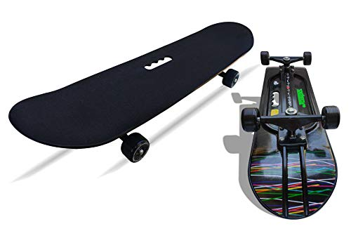 jaspo Polyurethane Hurricane Ollie Spiral Fiber Composite Skateboard Suitable for Age Group Above 10 Years with 100 kg Weight Handling Capacity (31x8 Inch, Black)
