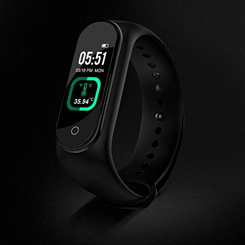 M4 Waterproof Smart Band Activity Fitness Tracker Watch with Body Heart Rate, Steps Counter, Calorie Counter, Blood Pressure, Heart Rate Monitor, OLED Touchscreen (Black)