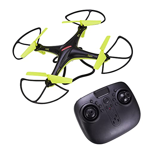 Renial R C Aerocraft Drone Without Camera, Drone with RC - No Camera, RC Drone, 1 Key Return, Altitude Hold Drone Without Camera - Black Colour with Green Wings - Colour of Summer