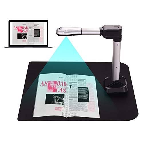 BK51 USB Document Camera Scanner Capture Size A3 HD 16 Mega-Pixels High Speed Scanner with LED Light for ID Cards Passport Books Watermarks Setting PDF Format Export for Classroom Office