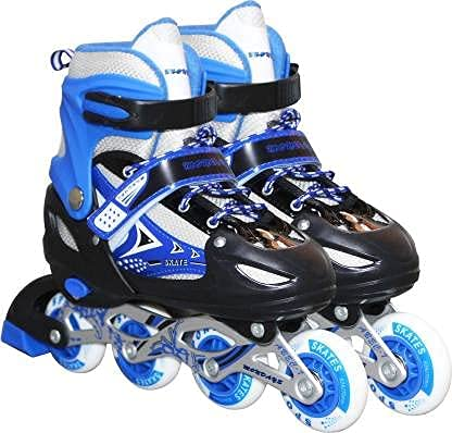 MR Adjustable Inline Skates for Kids with Full Light Up Wheels , Outdoor Roller Skates for Girls and Boys Age Group 6-15 Years Pack of 1 (Blue)