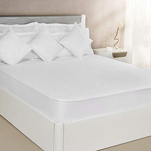 Amazon Brand - Solimo Waterproof Terry Cotton Mattress Protector, 72x72 inches, King Size (White)
