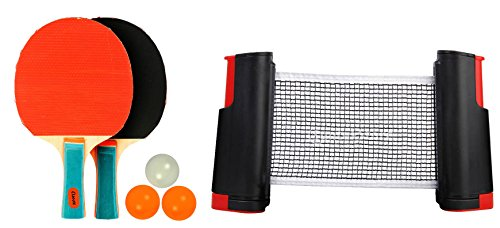 Klapp Table Tennis Set with Two Racquet Three Ball and One Adjustable Net